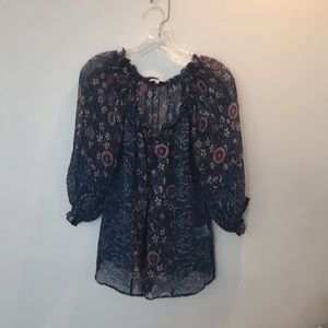 Joie Silk Chiffon Floral Print, Short Sleeve Top,S